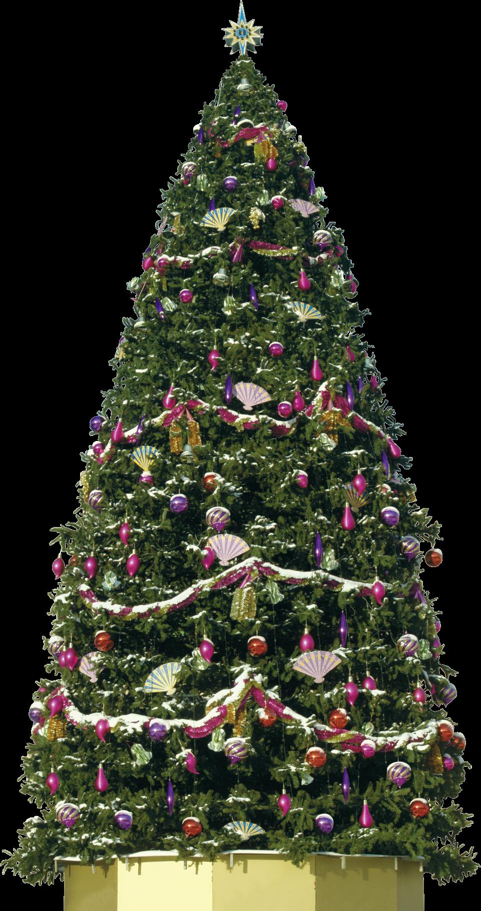 Big Decorative Christmas Tree PNG Image
