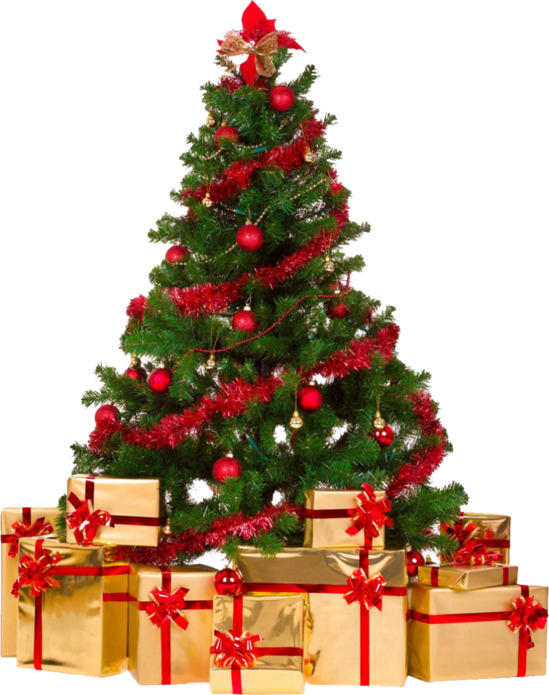 Decorative Christmas Tree with Gifts PNG Image