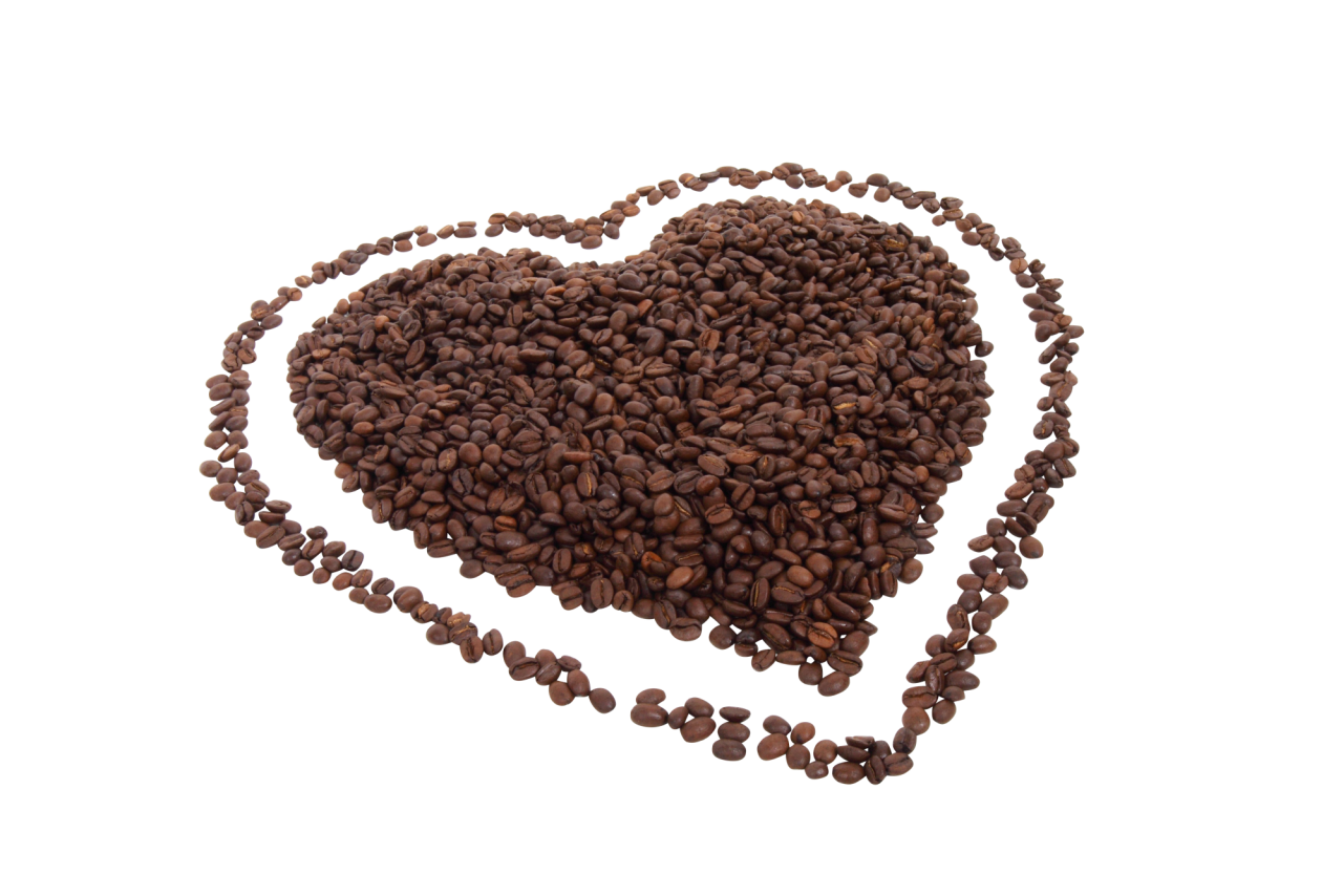 Love Shape made of Coffee Beans PNG Image