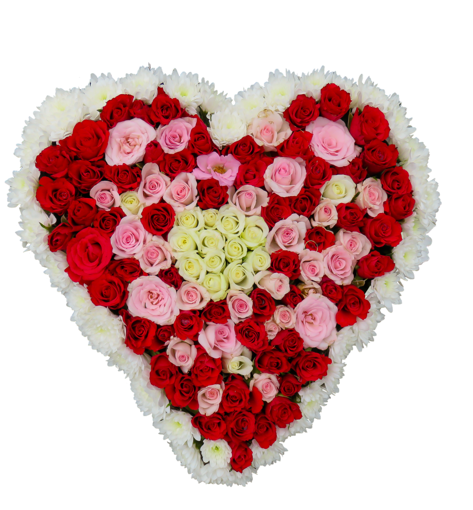Colorful Flower Heart PNG Image