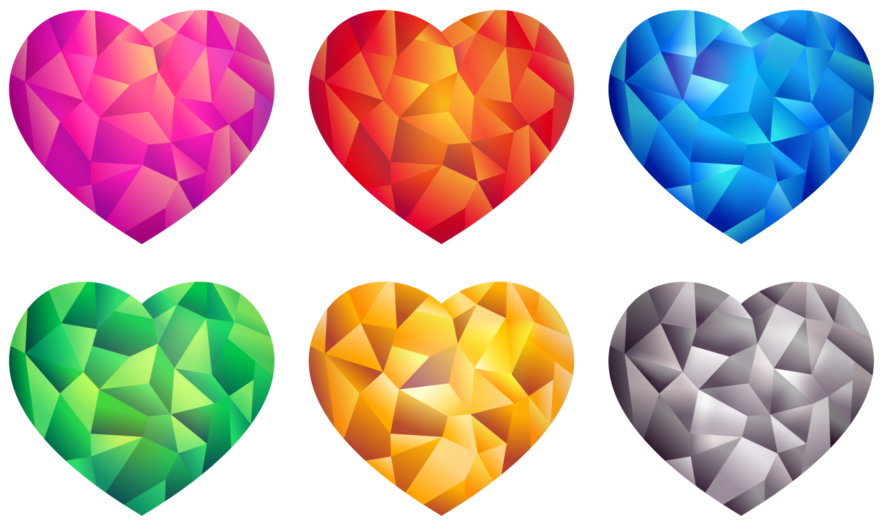 Colorful Hearts PNG Image