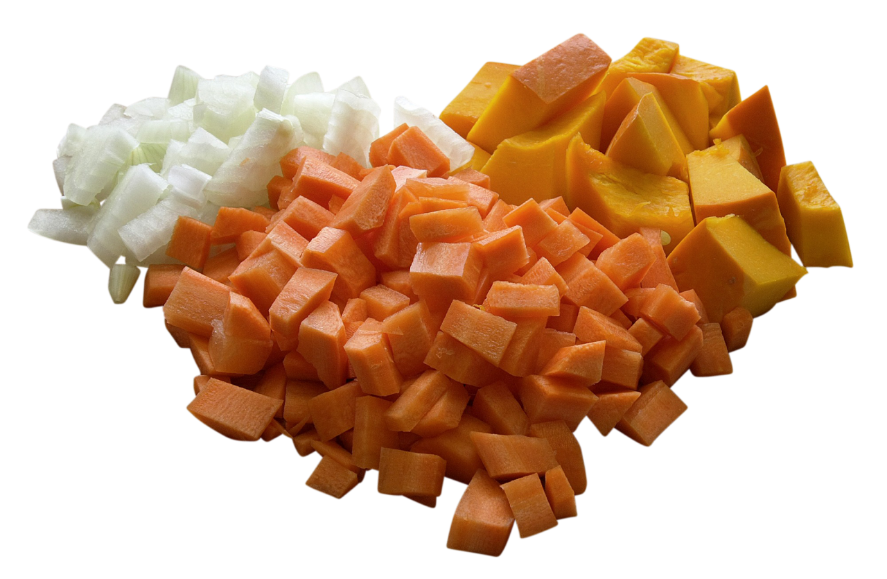 Cube Shaped Cut vegetables PNG Image
