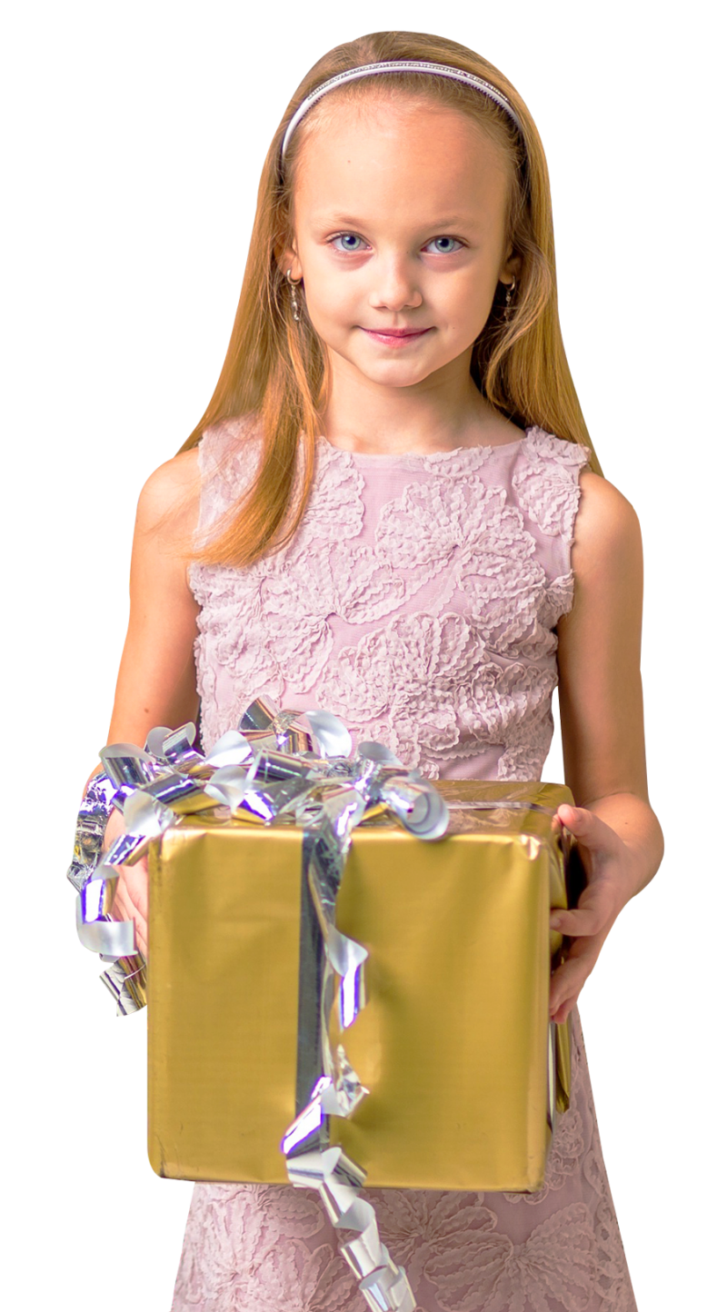 Cute Girl Holding Gift Box PNG Image