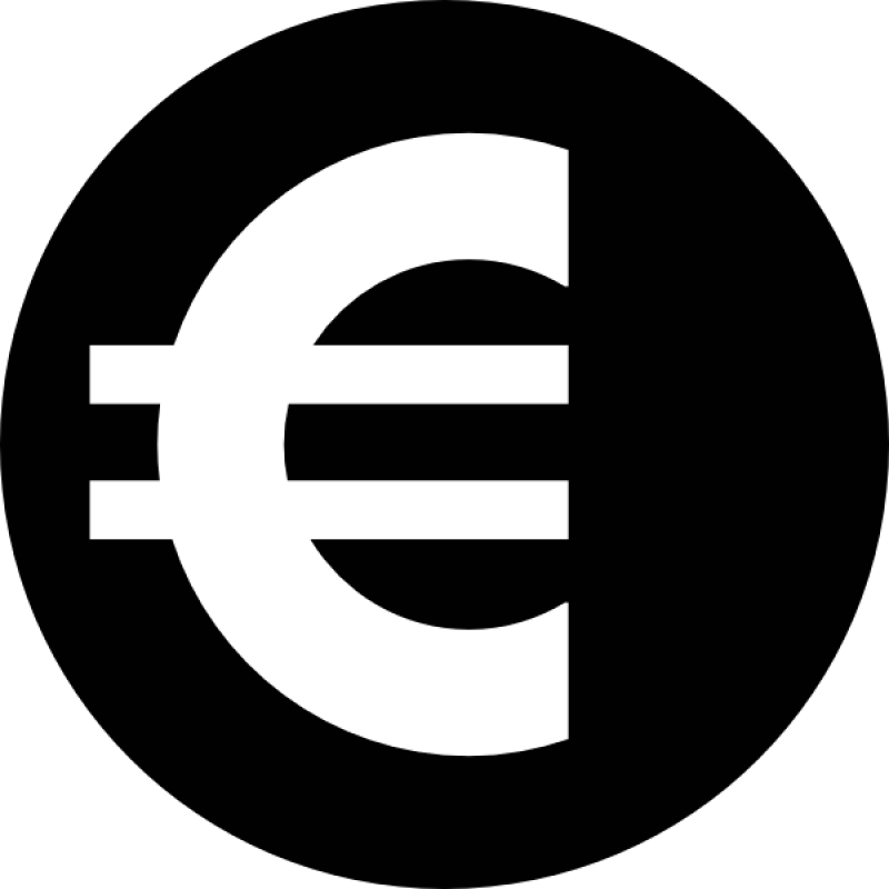 Euro Sign In Black And White PNG Image