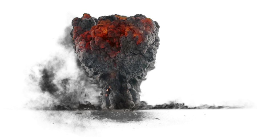 Explosion with Dark Smoke PNG Image