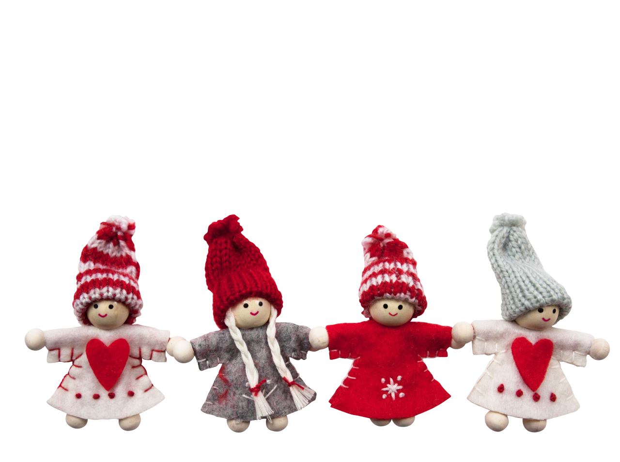 Four Cute Christmas Dolls PNG Image