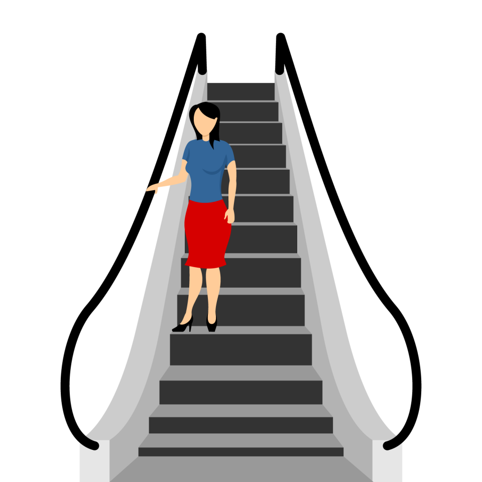 Girl coming down through  Escalator PNG Image