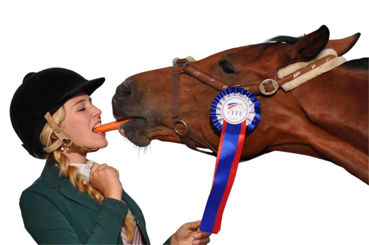 Girl eating carrot with horse PNG Image