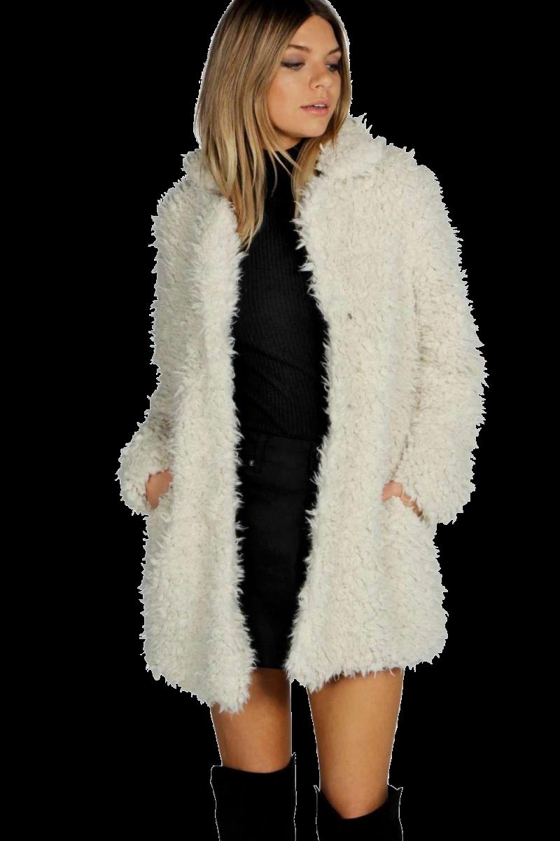 Girl in White  Fur Coat PNG Image