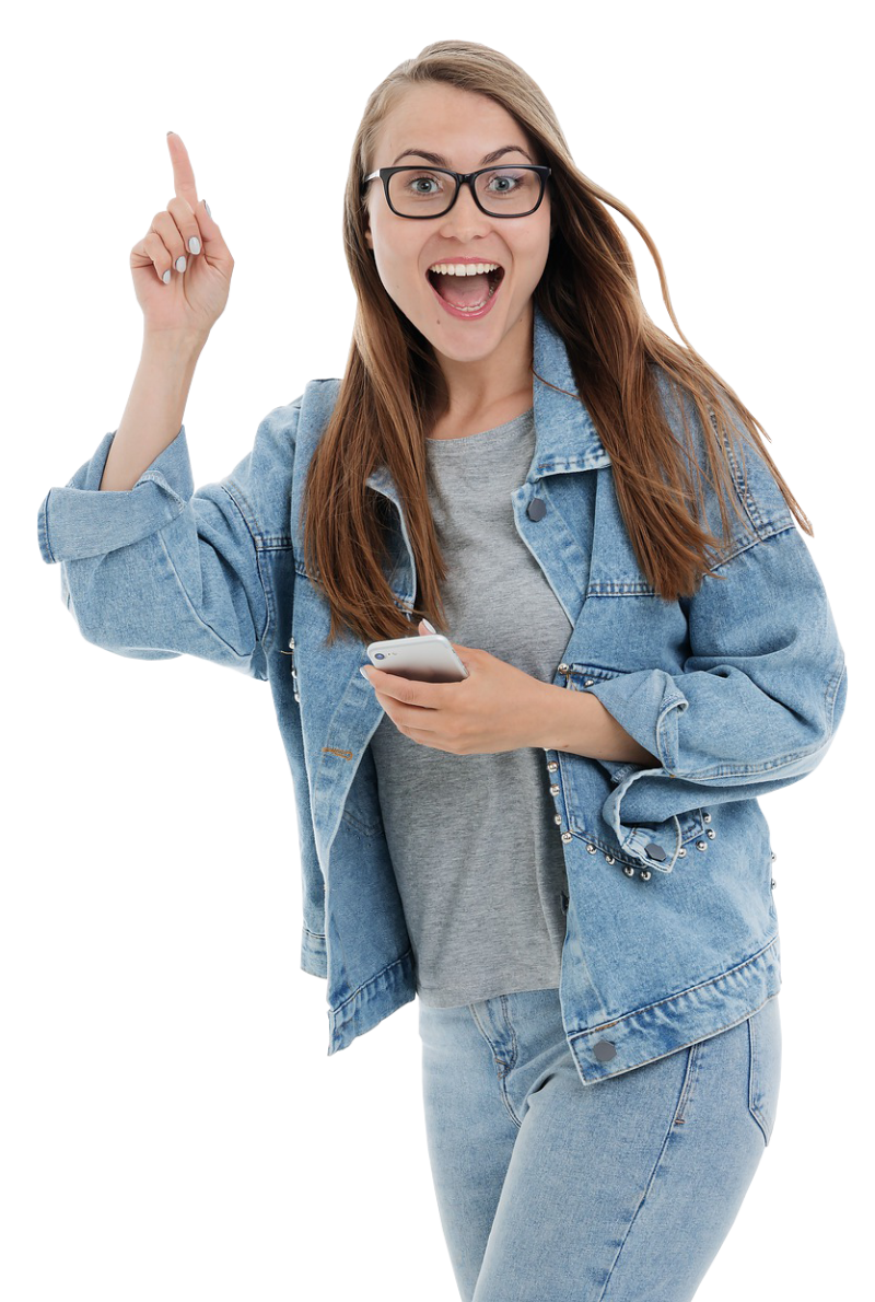 Happy Girl with Smartphone PNG Image