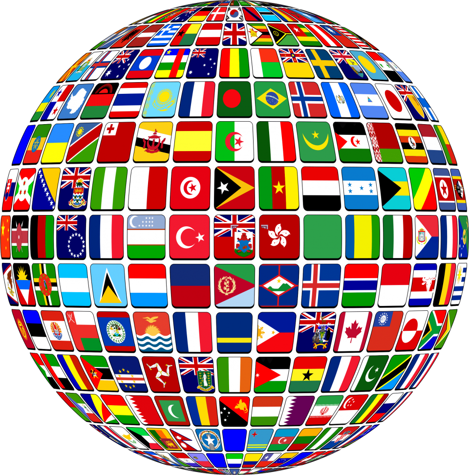 Globe with Country National Flags PNG Image