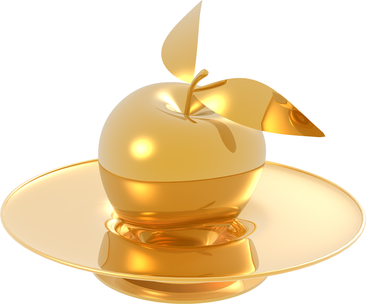 Gold Made Apple and Plate PNG Image