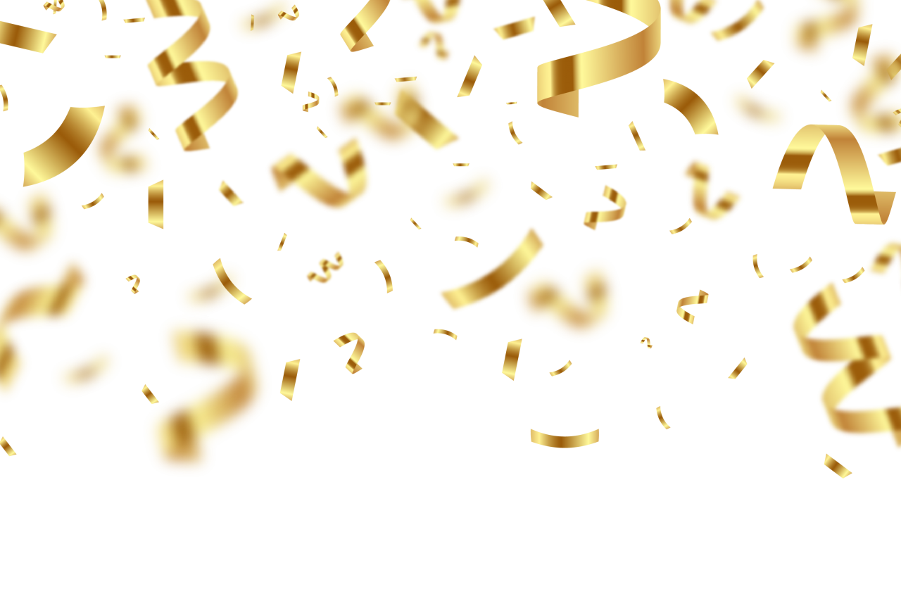 Golden Birthday Confetti with Blur PNG Image