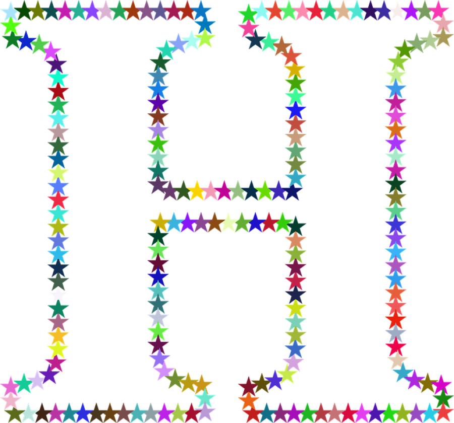 H Letter in Multi Stars PNG Image