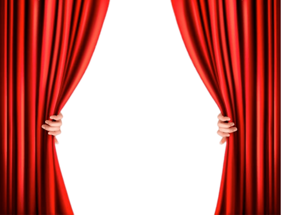 Hand Opening Curtains from booth sides PNG Image