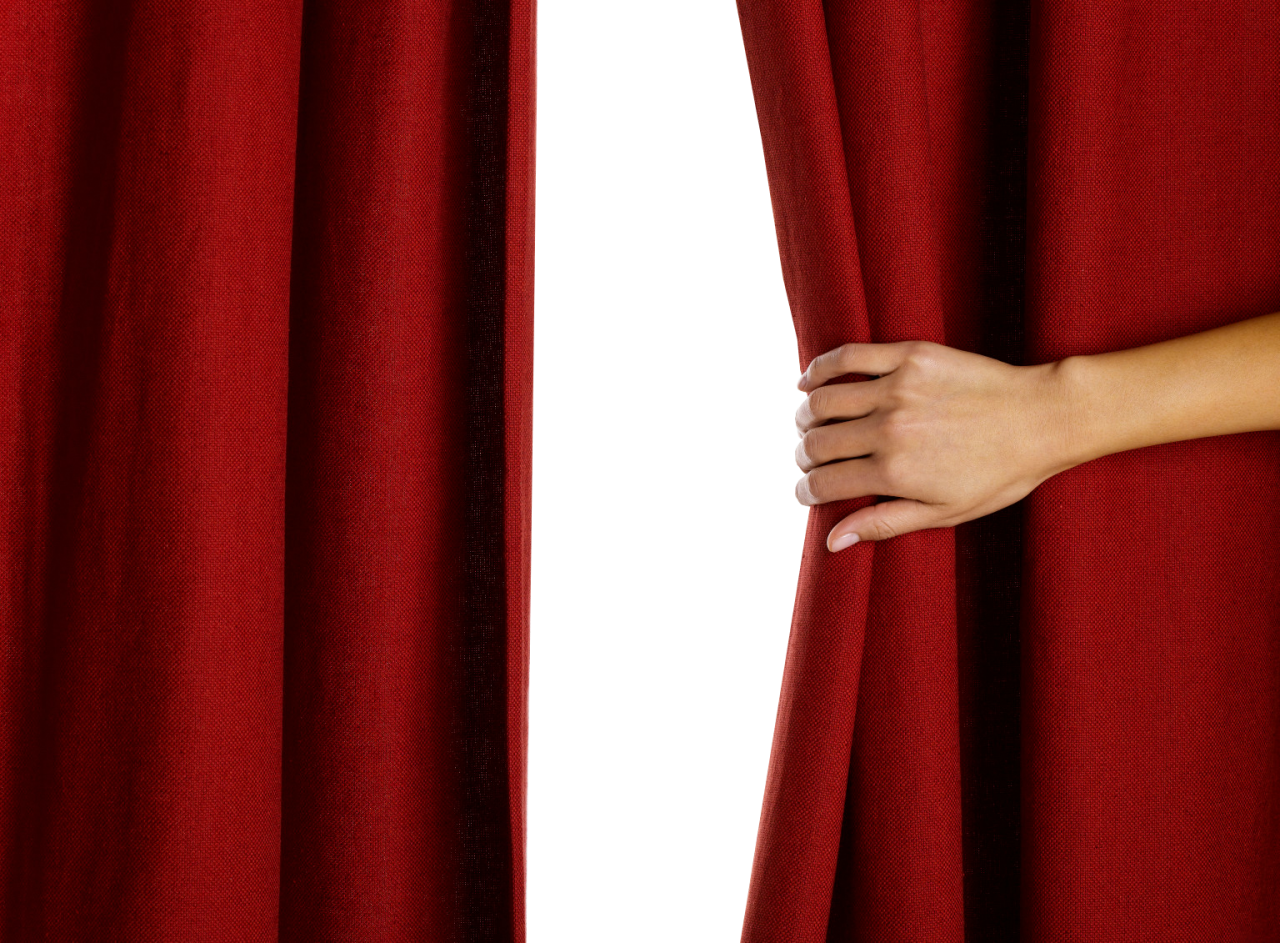 Hand Opening Red Curtain PNG Image