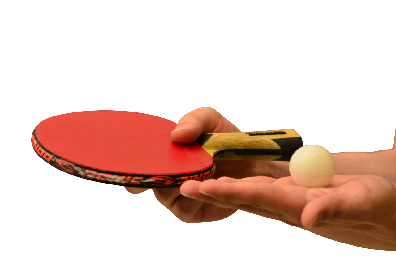 Hands holding Table Tennis of Racket and Ball PNG Image
