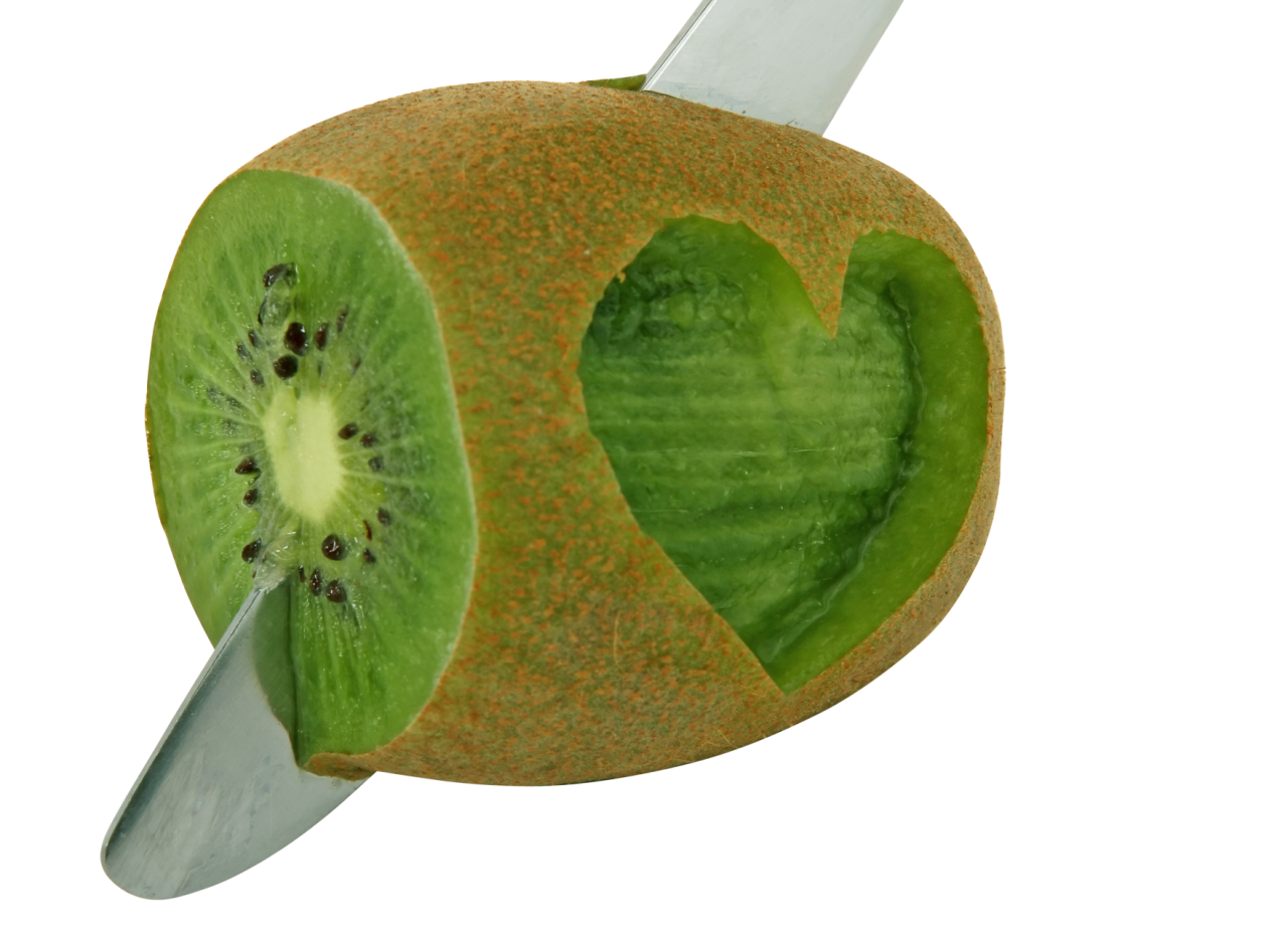 Heart Shape Carved Kiwi Fruit PNG Image