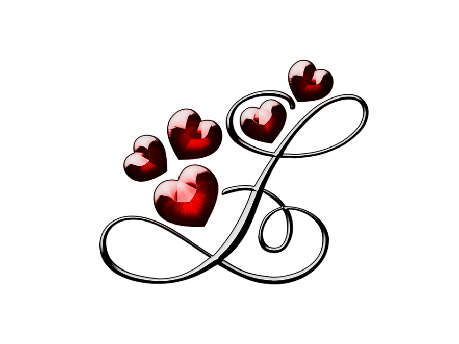 L Letter With Hearts PNG Image