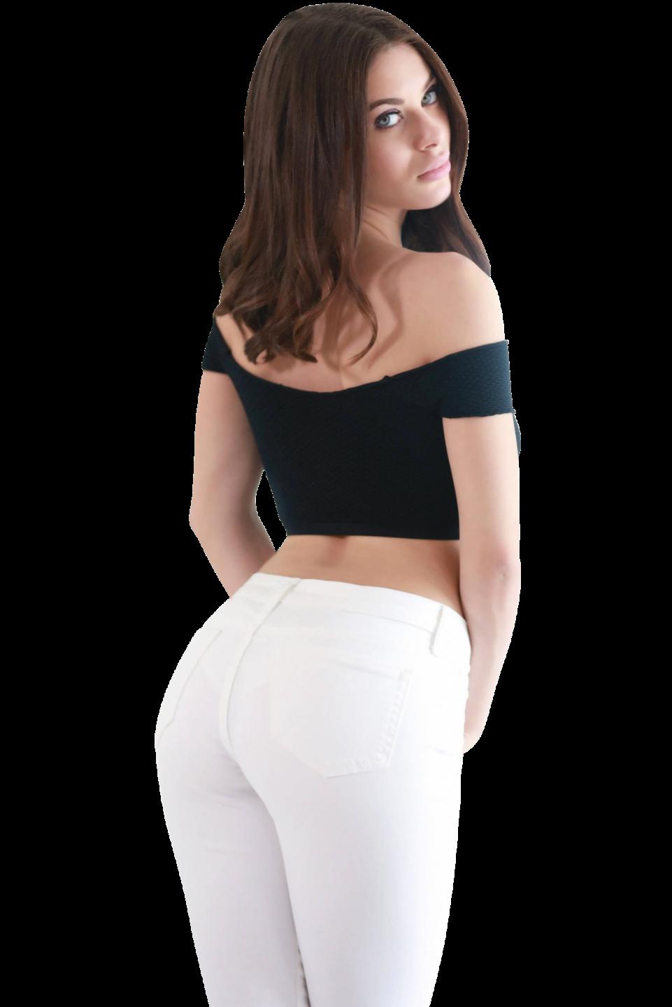 Lana Rhoades wearing White Jeans PNG Image