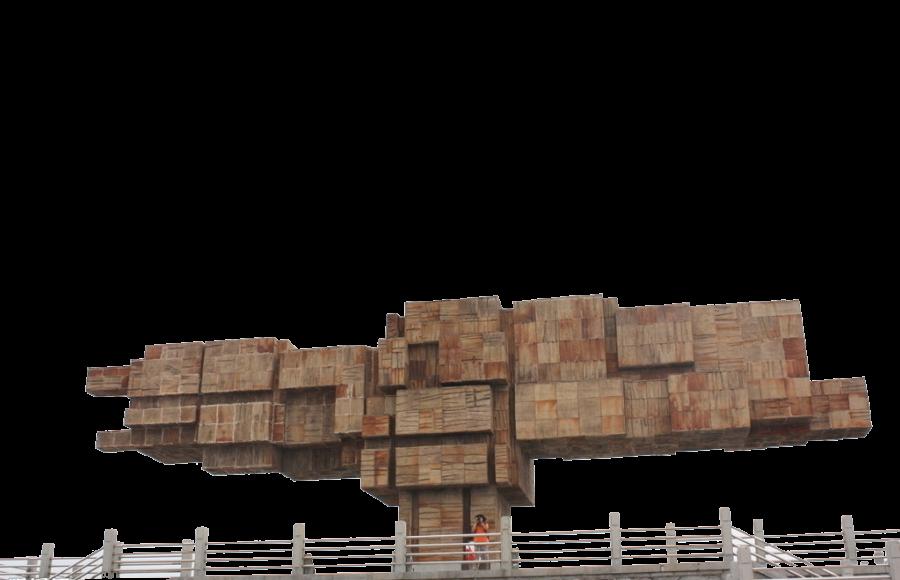 Sight-seeing under Interesting Stone Landmark PNG Image
