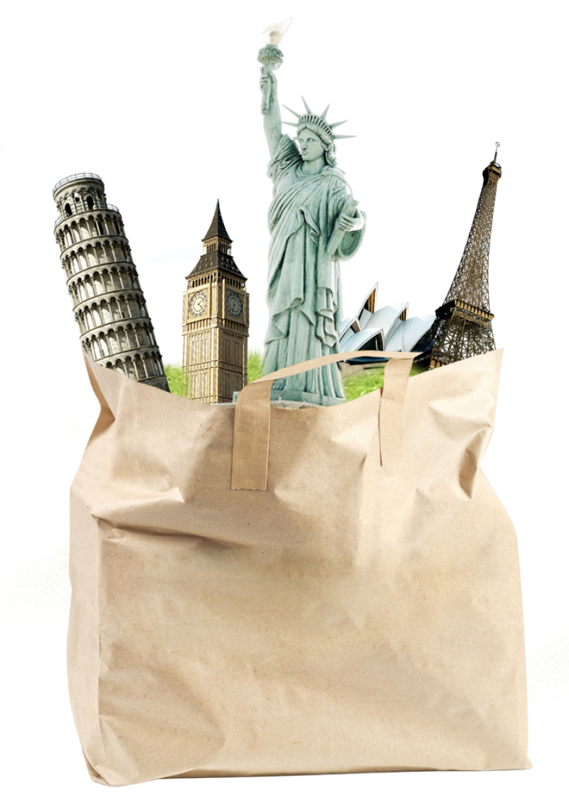 Famous World Sights in a Bag PNG Image