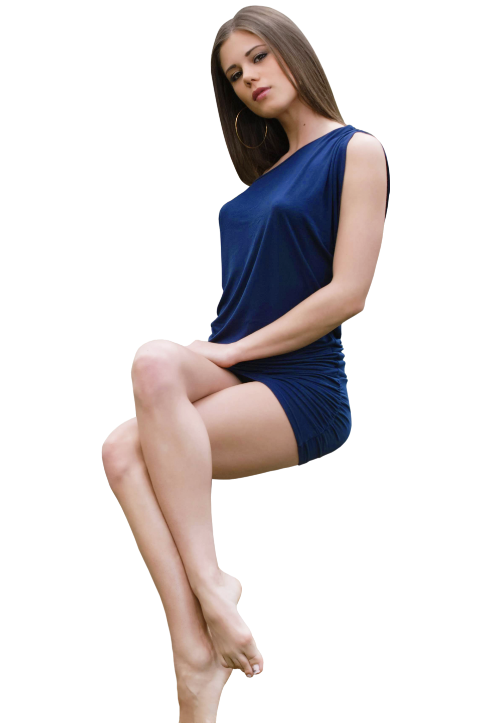 Laying Little Caprice in Blue Dress PNG Image