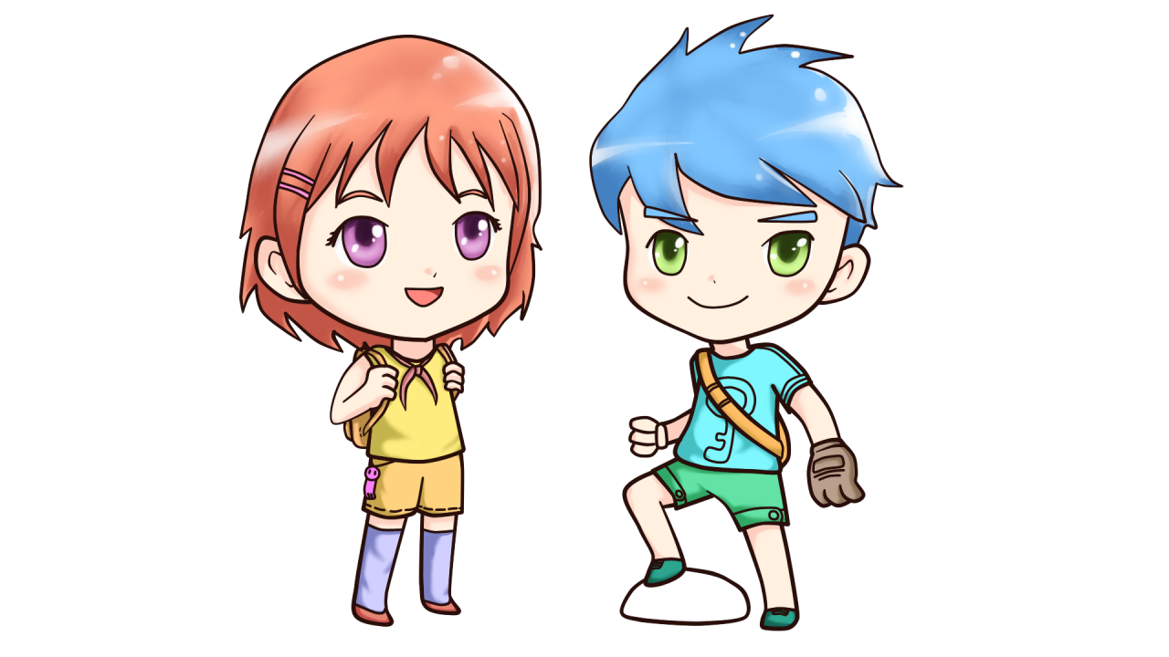 Little Anime Boy and Girl PNG Image
