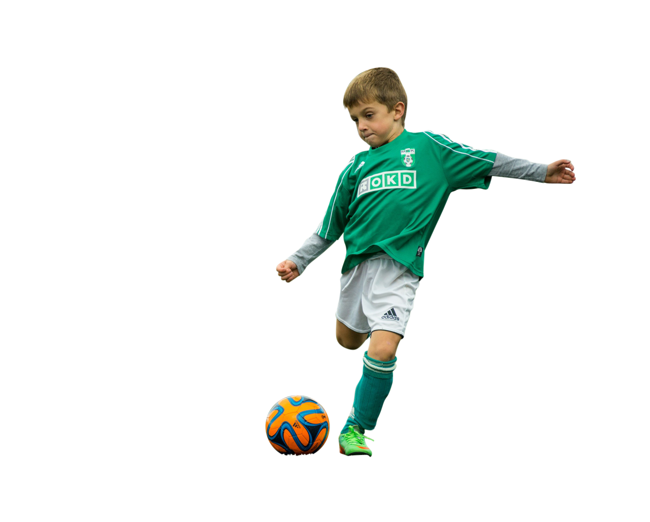 Little Boy Play With Football PNG Image