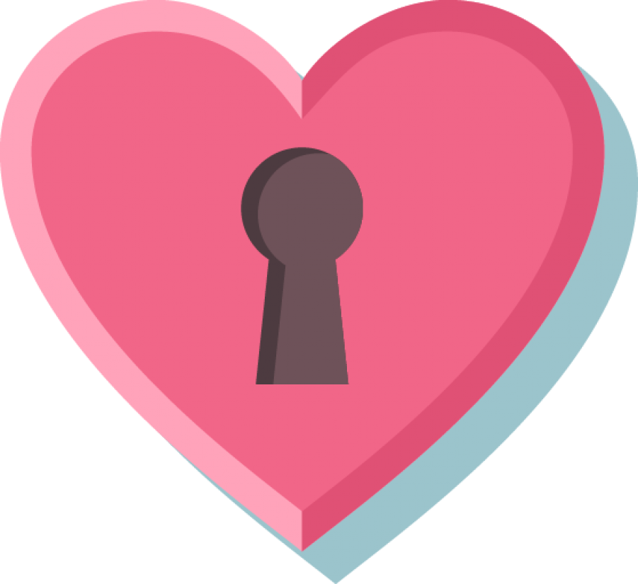 Locked Pink Heart PNG Image