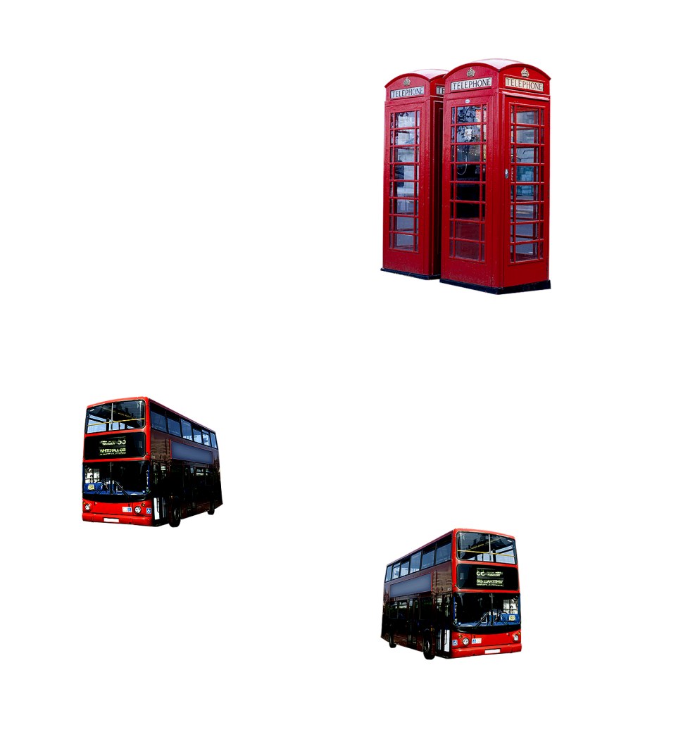 London Telephone Booths and  Buses PNG Image