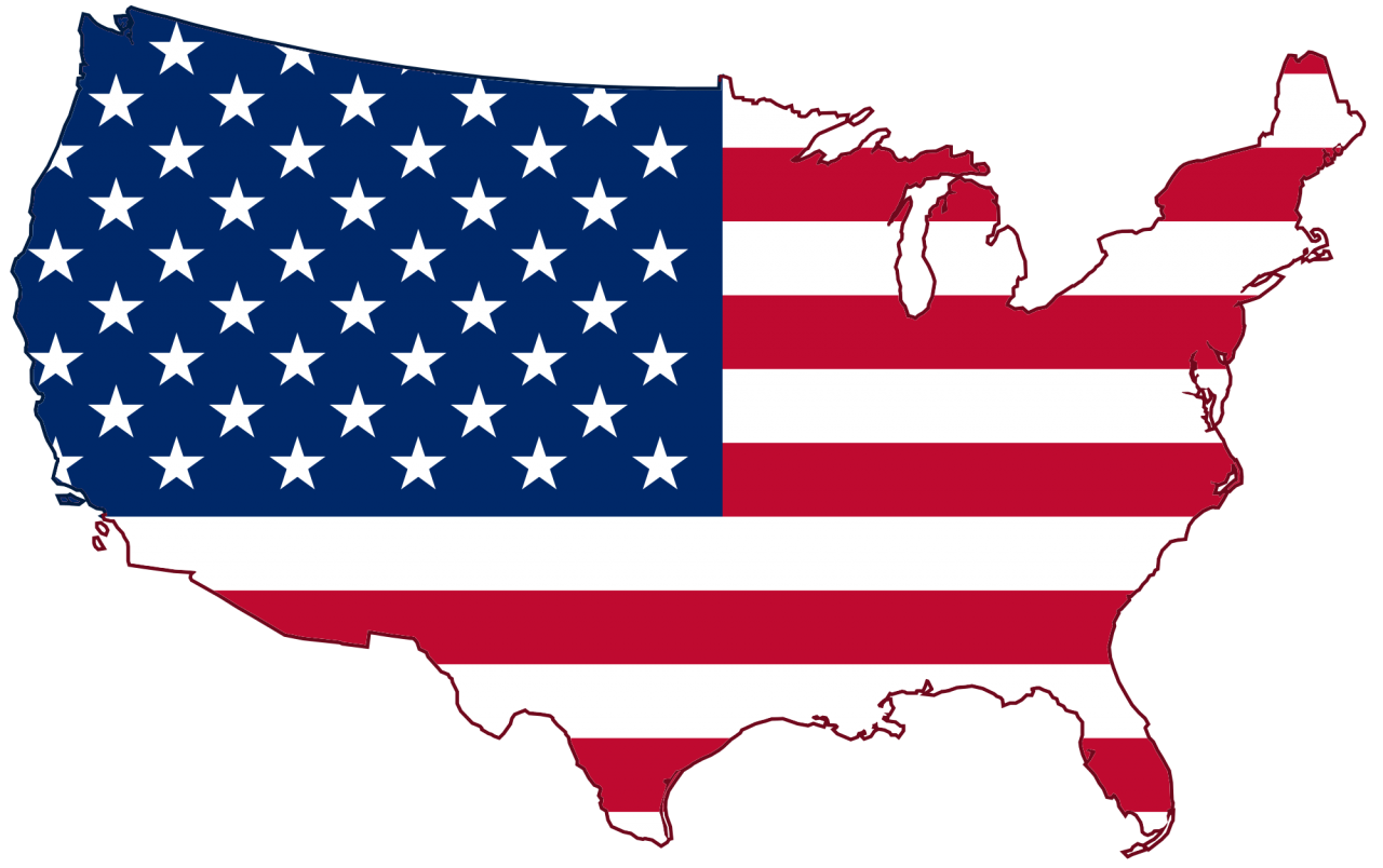 Map of America - American Flag PNG Image