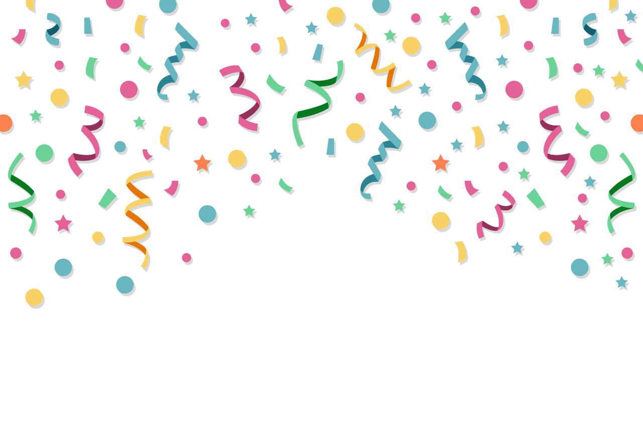 Modern Confetti Flat Design PNG Image