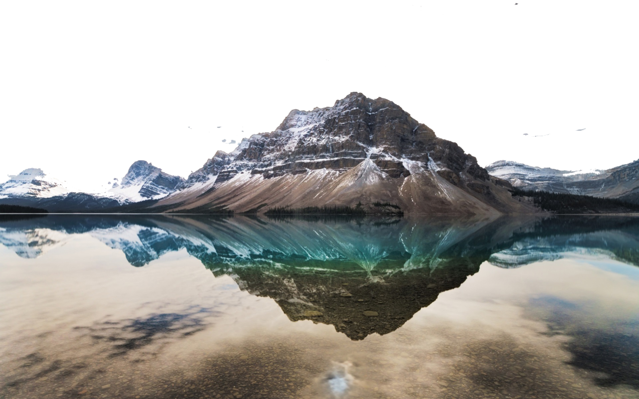 Reflection of Mountain in Sea PNG Image