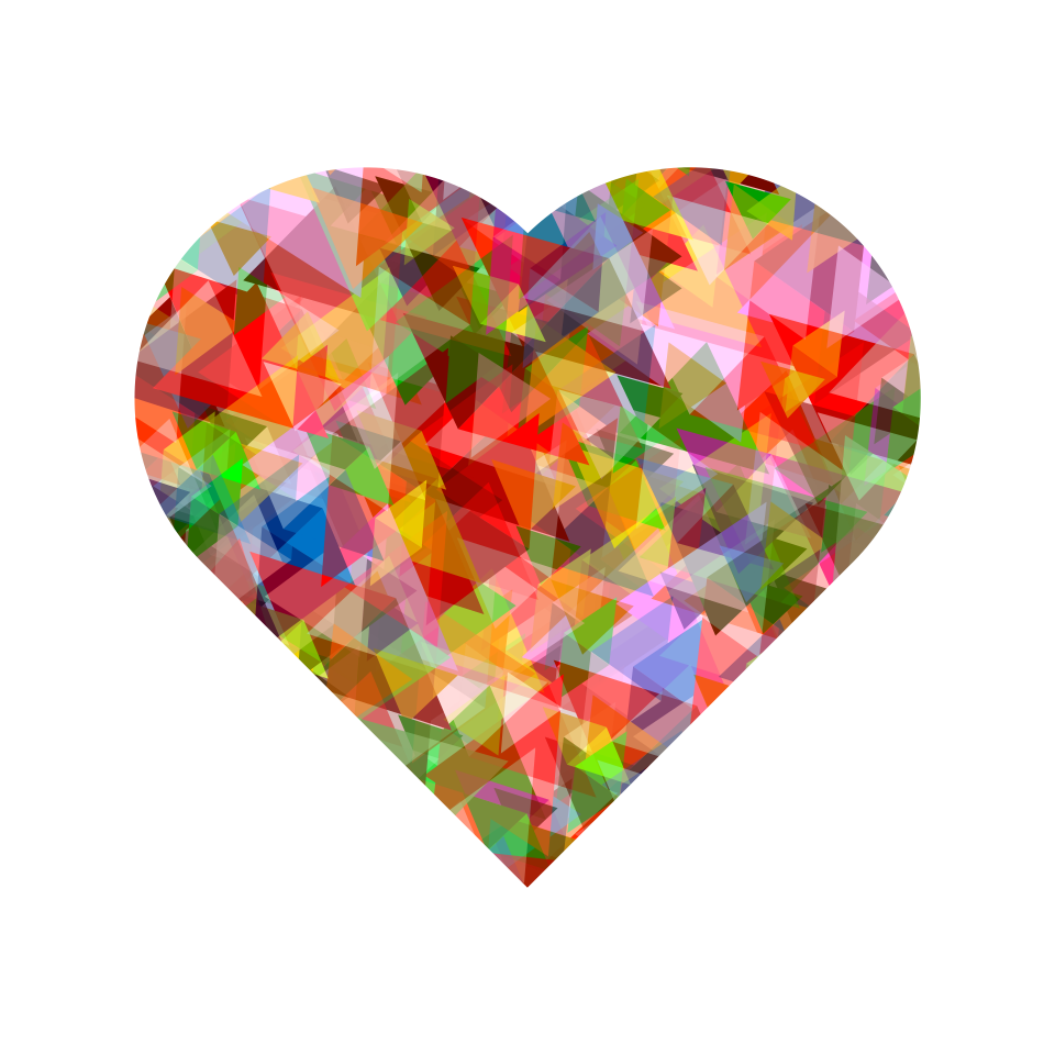 Multi Colors Crystal Heart PNG Image