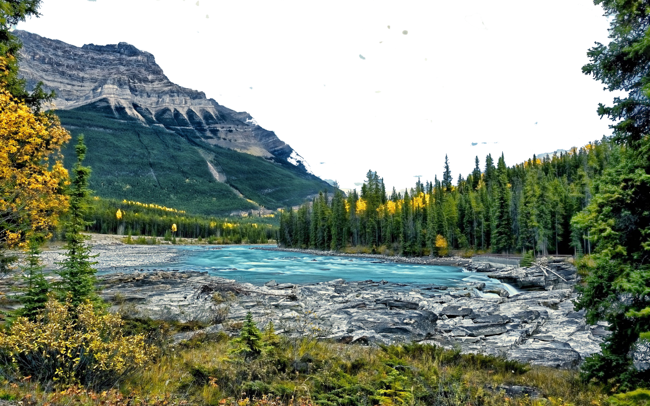 River, Mountains and Vegetation PNG Image