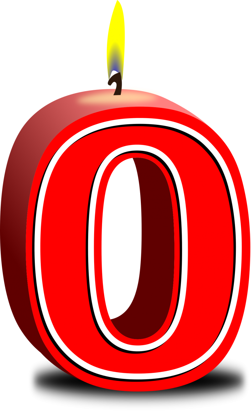 Number Zero red Candle PNG Image