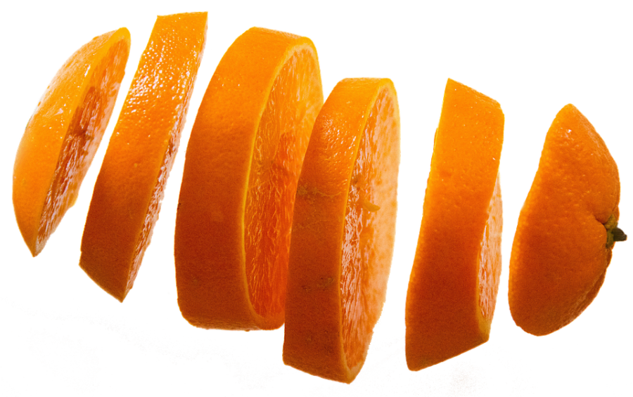 One Orange in Many Slices PNG Image