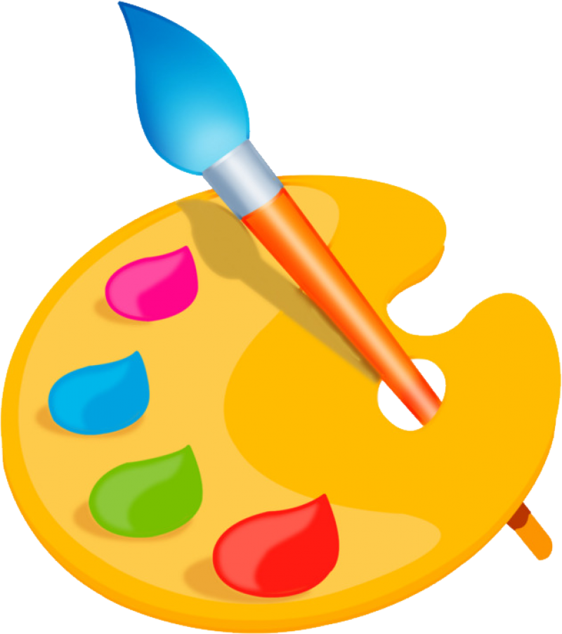 Paint Palette and Brush PNG Image