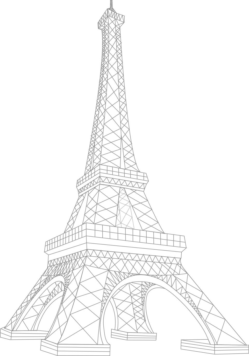 Architectural Impression of Eiffel Tower - Paris PNG Image