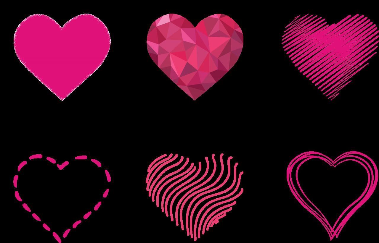 Pink Art Hearts PNG Image