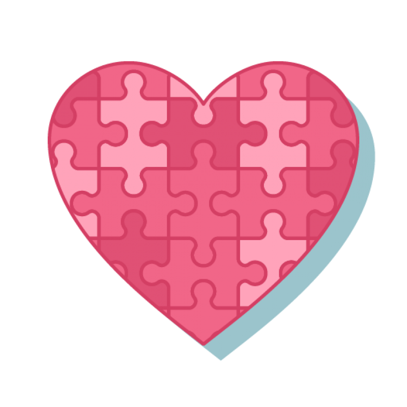 Pink Heart Puzzle PNG Image