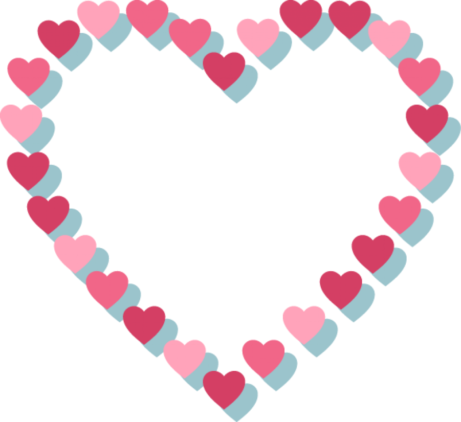 Pink Heart with Hearts Outline PNG Image