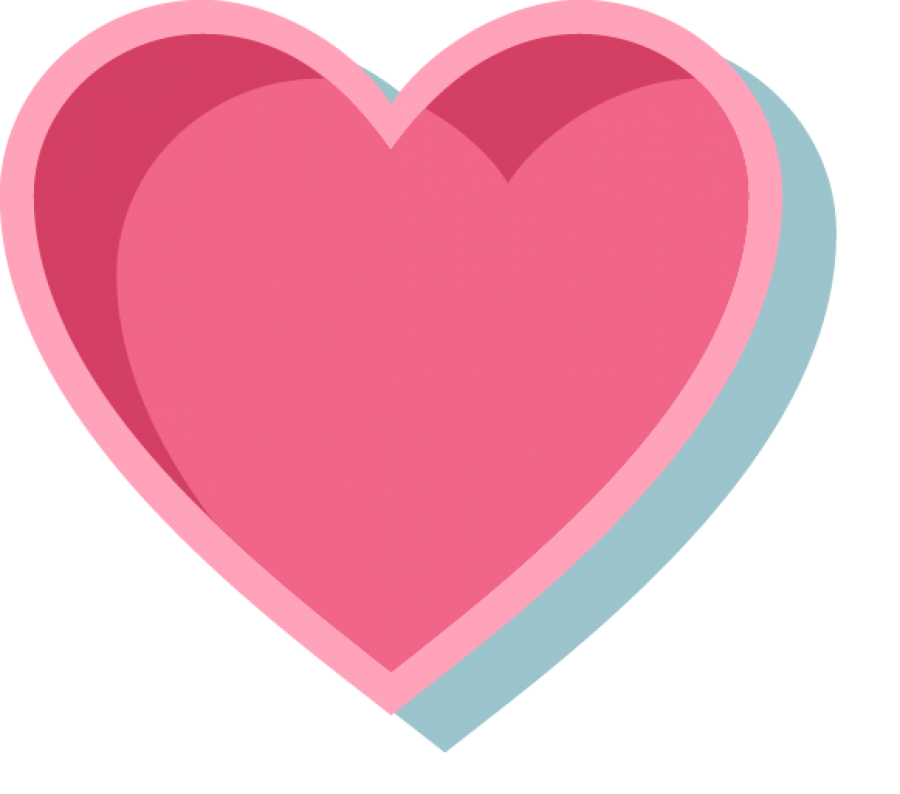Pink Heart with Outline PNG Image