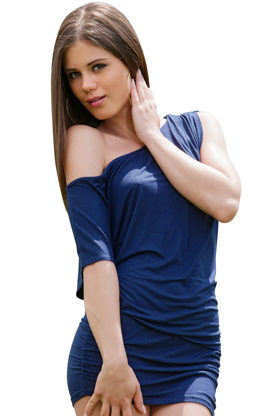 Posing Little Caprice in Blue Dress PNG Image