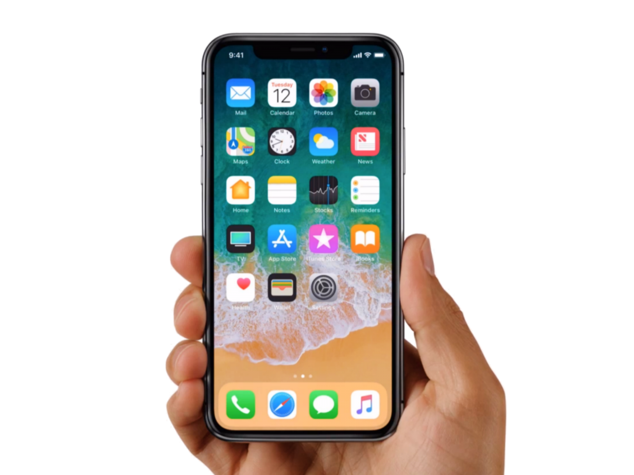 Apple iPhone X in Hands PNG Image