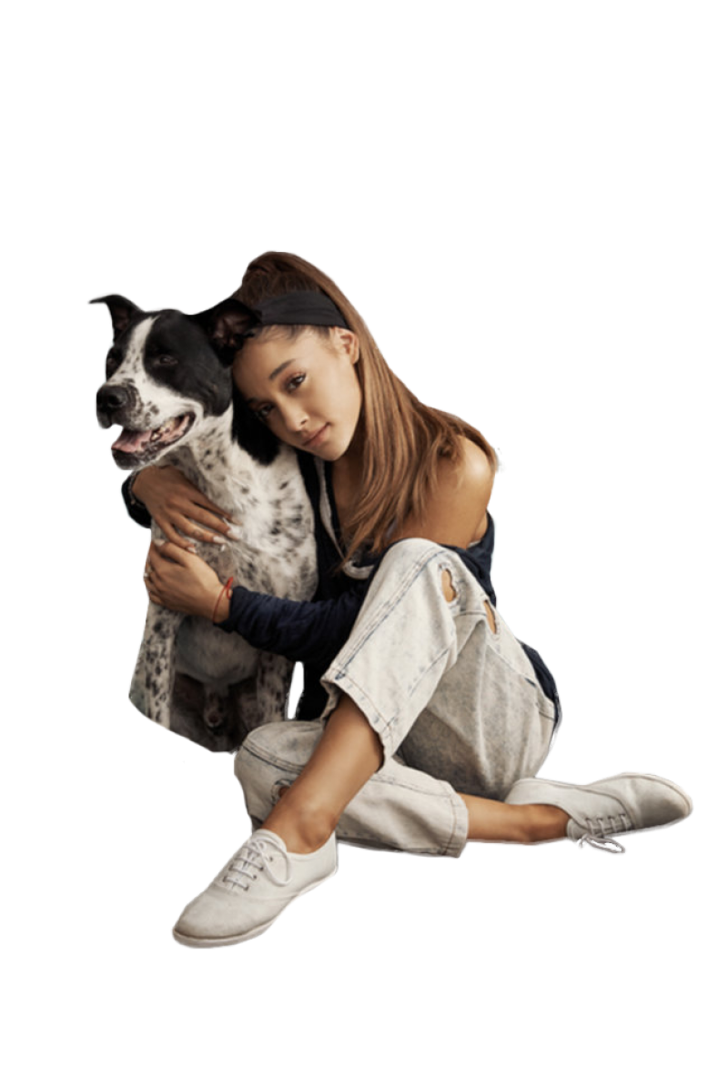 Ariana Grande cuddling with a cat PNG Image