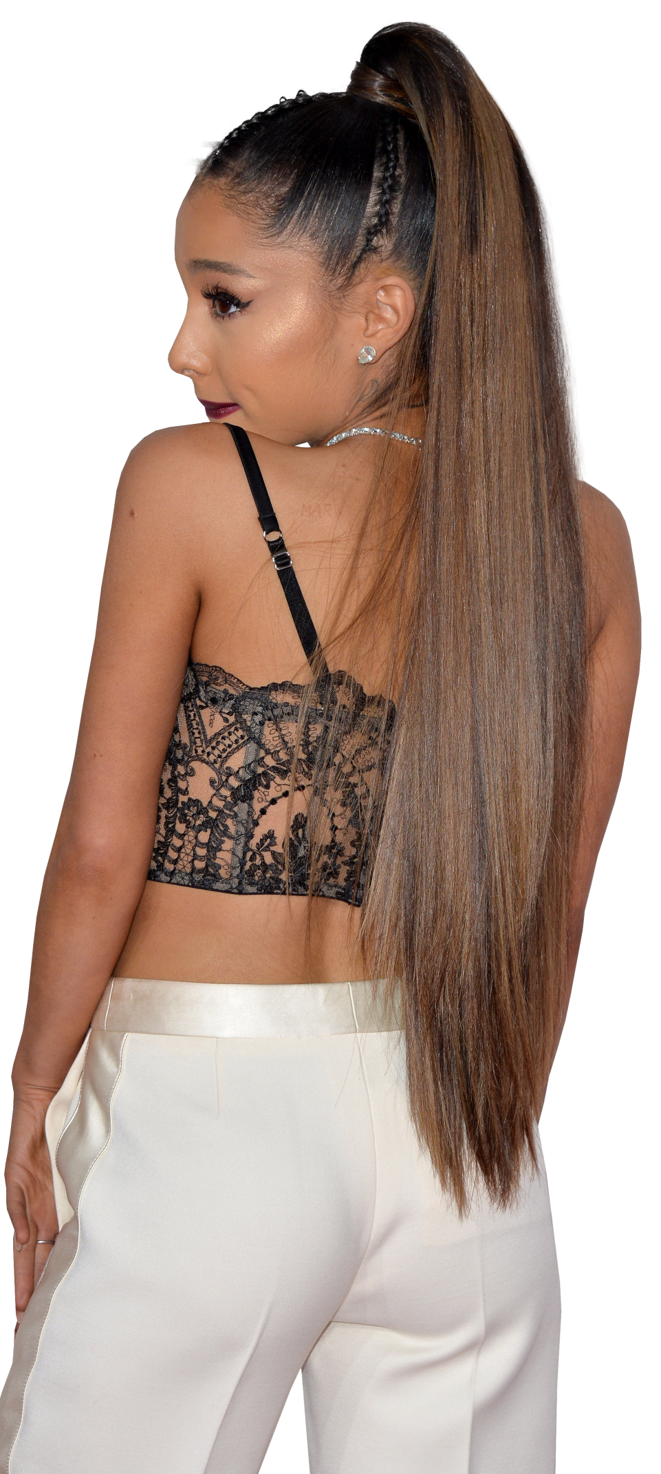Ariana Grande in white trousers PNG Image