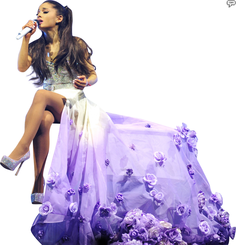 Ariana Grande singing on stage PNG Image