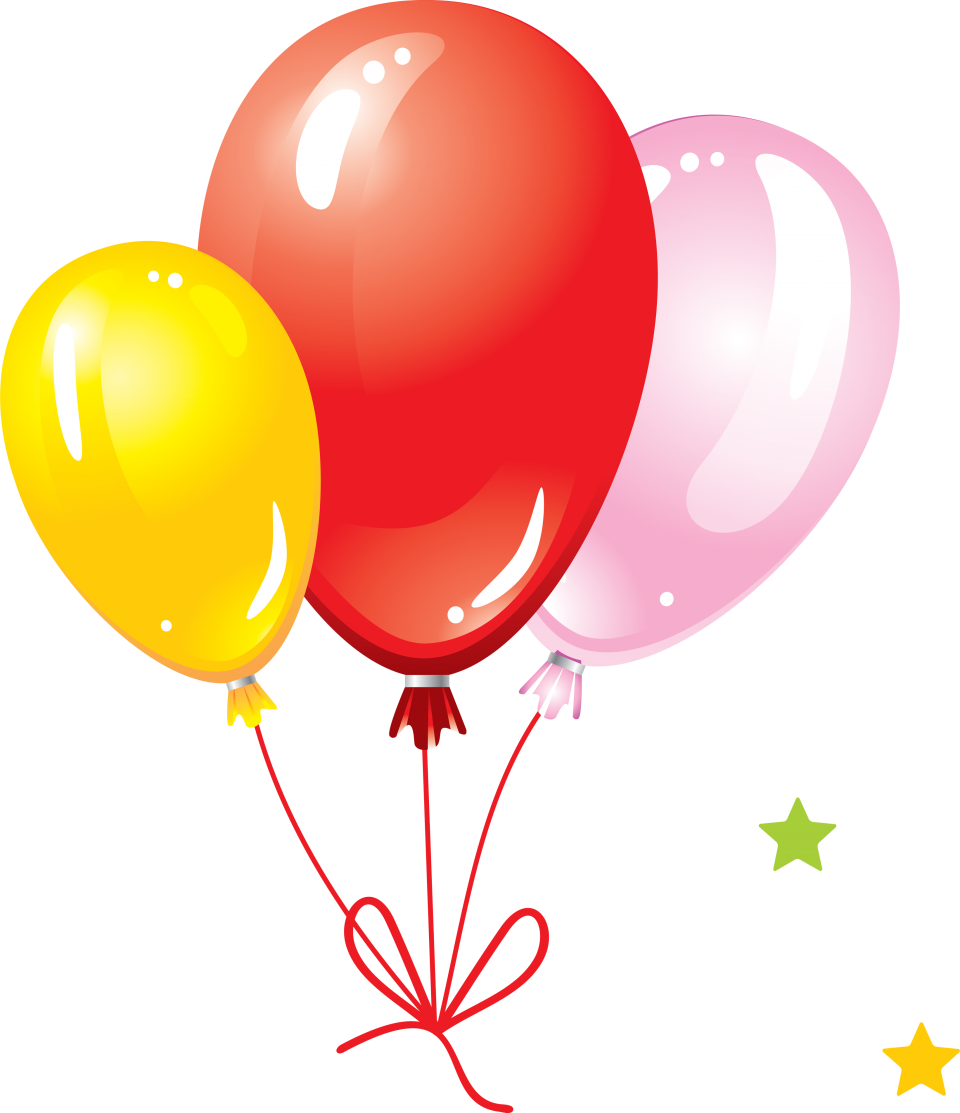 Party Balloons with Bow PNG Image